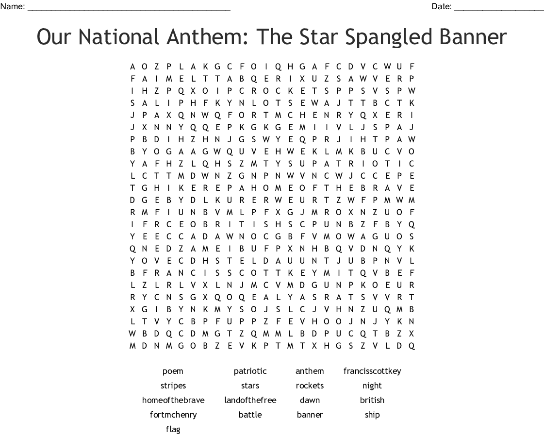 Best National Anthem Lyrics Printable