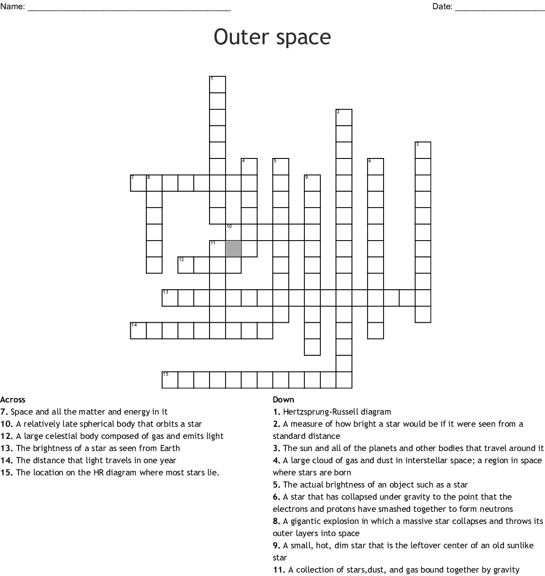 hight resolution of outer space crossword