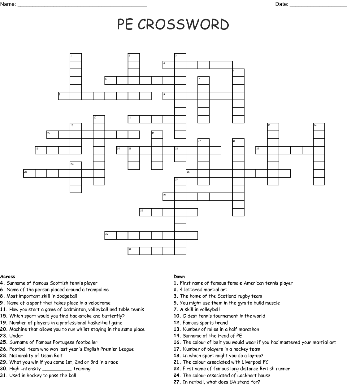 Physical Education Crossword