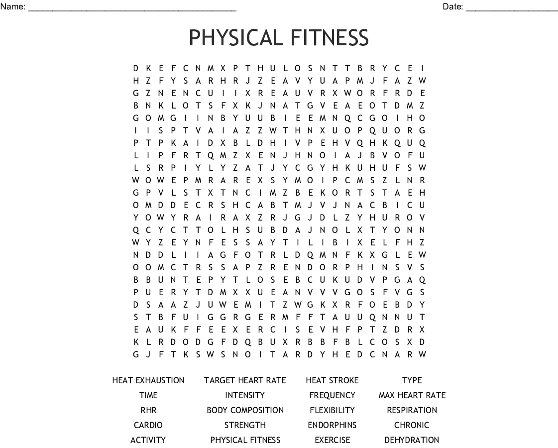 Physical Fitness Word Search