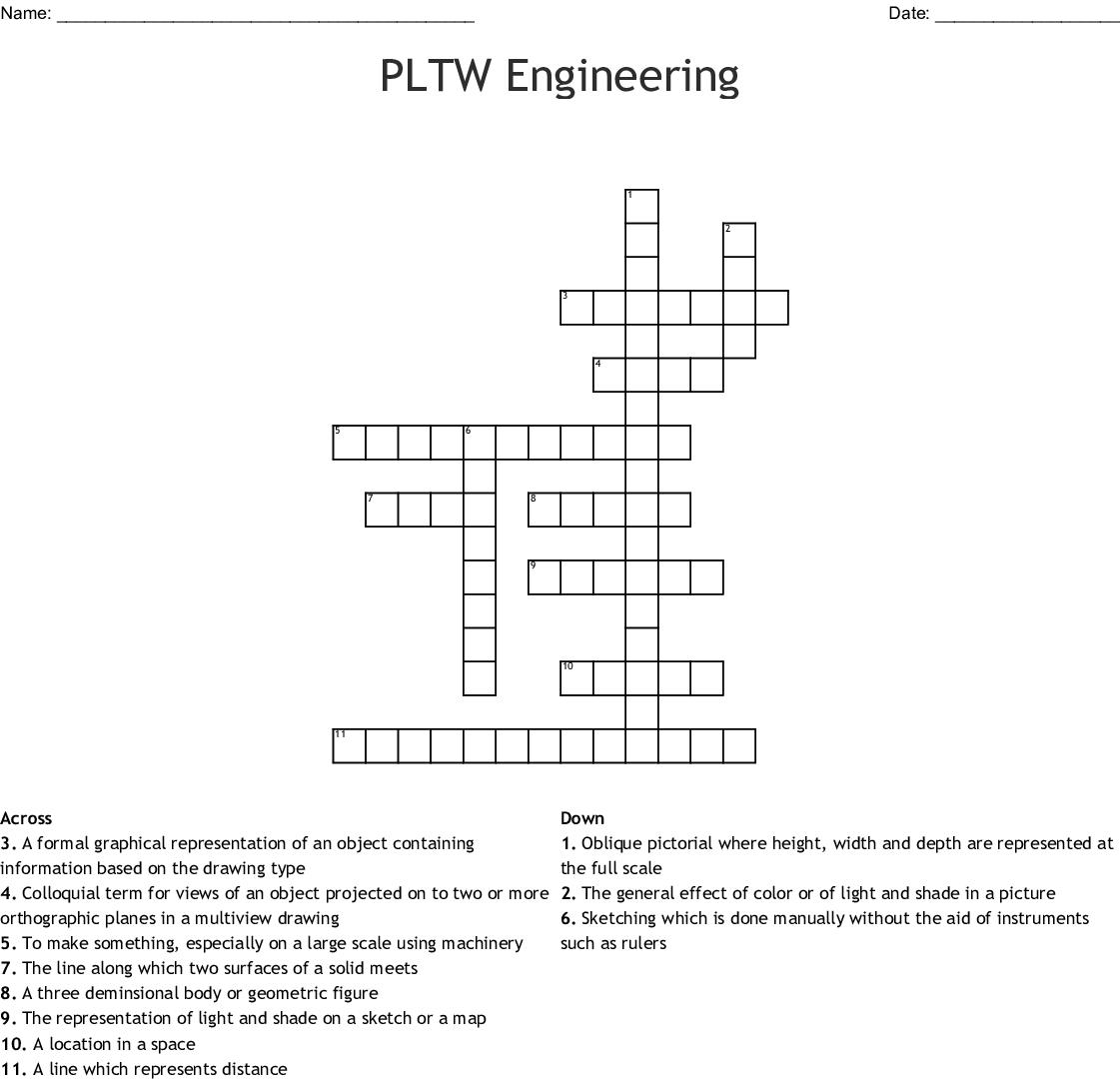 Pltw Engineering Crossword