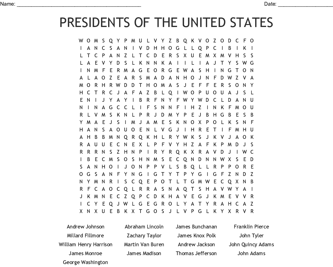 Presidents Of The United States Word Search
