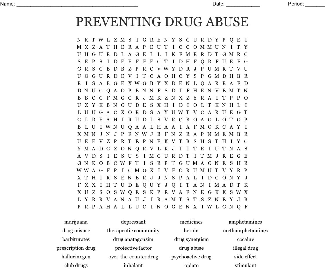 Preventing Drug Abuse Word Search