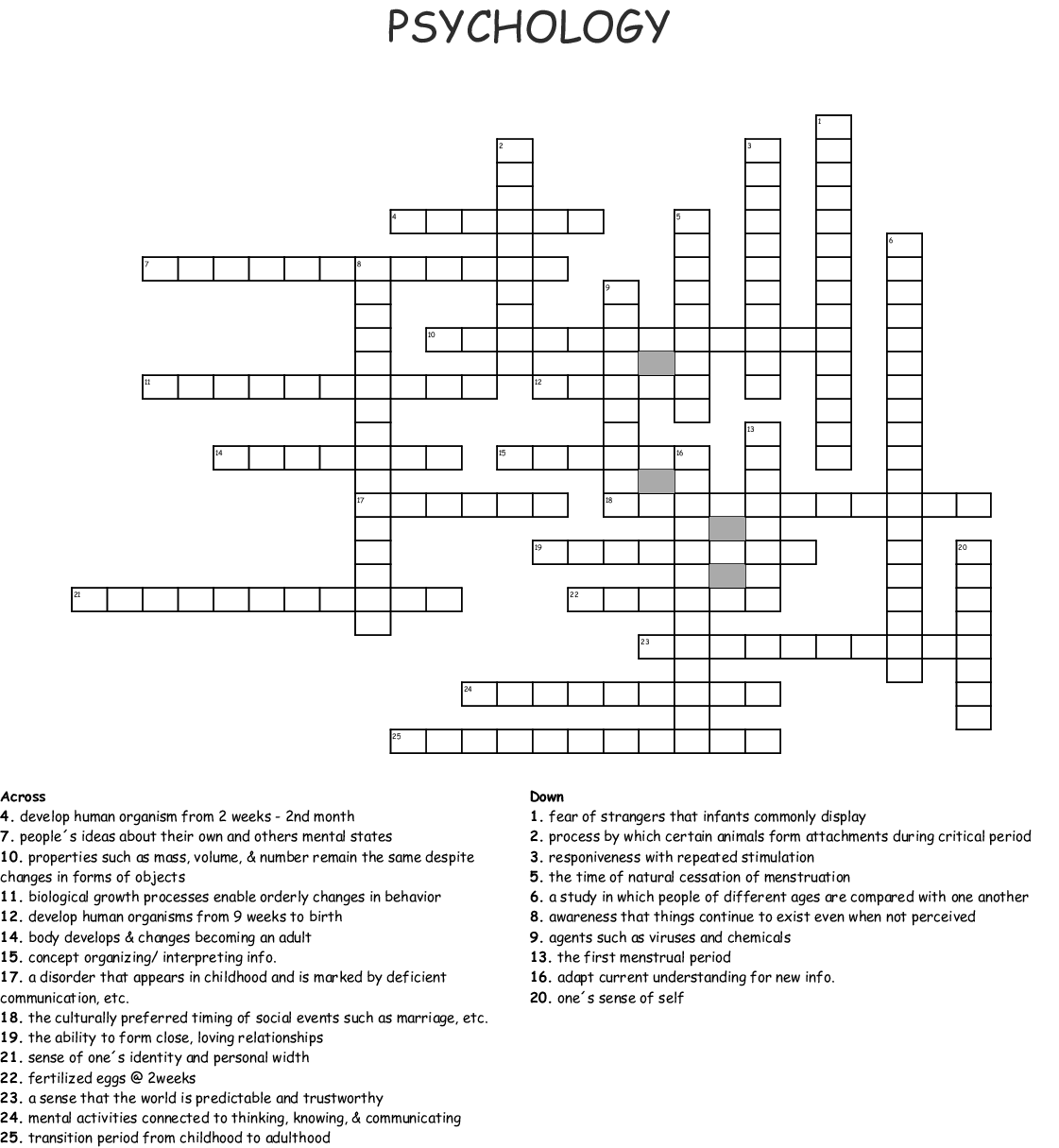Ap Psychology Unit 9 Crossword