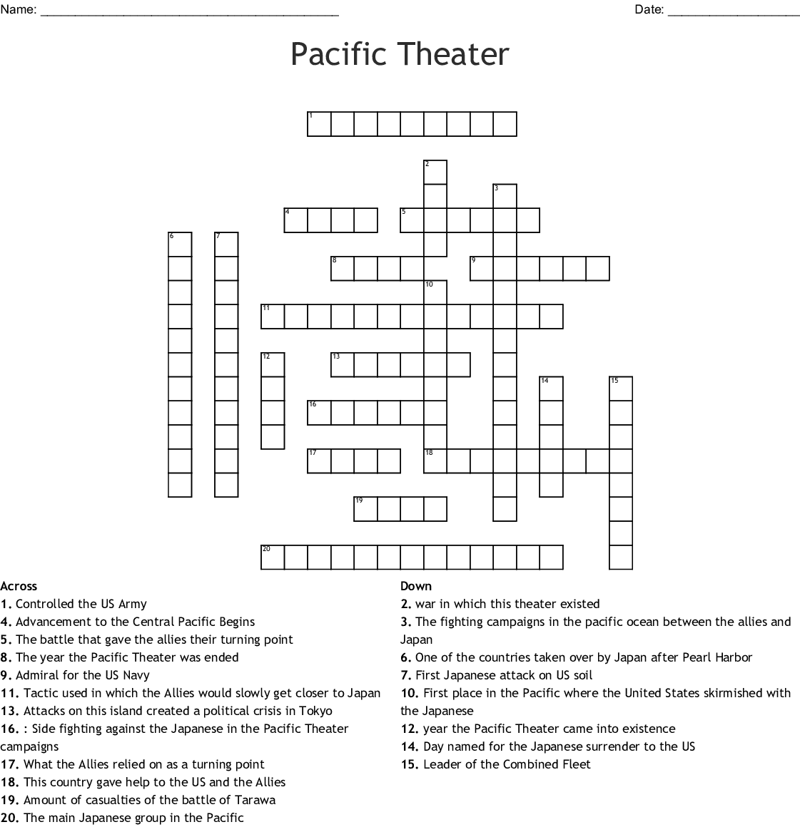 Crossword Answer Theatres Of War Crossword