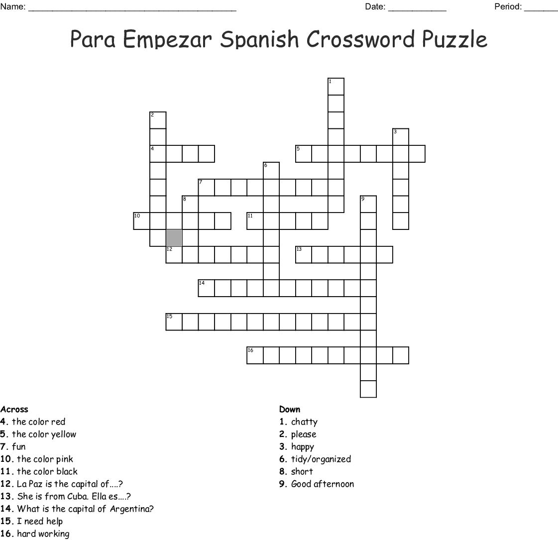 Para Empezar Spanish Crossword Puzzle Crossword