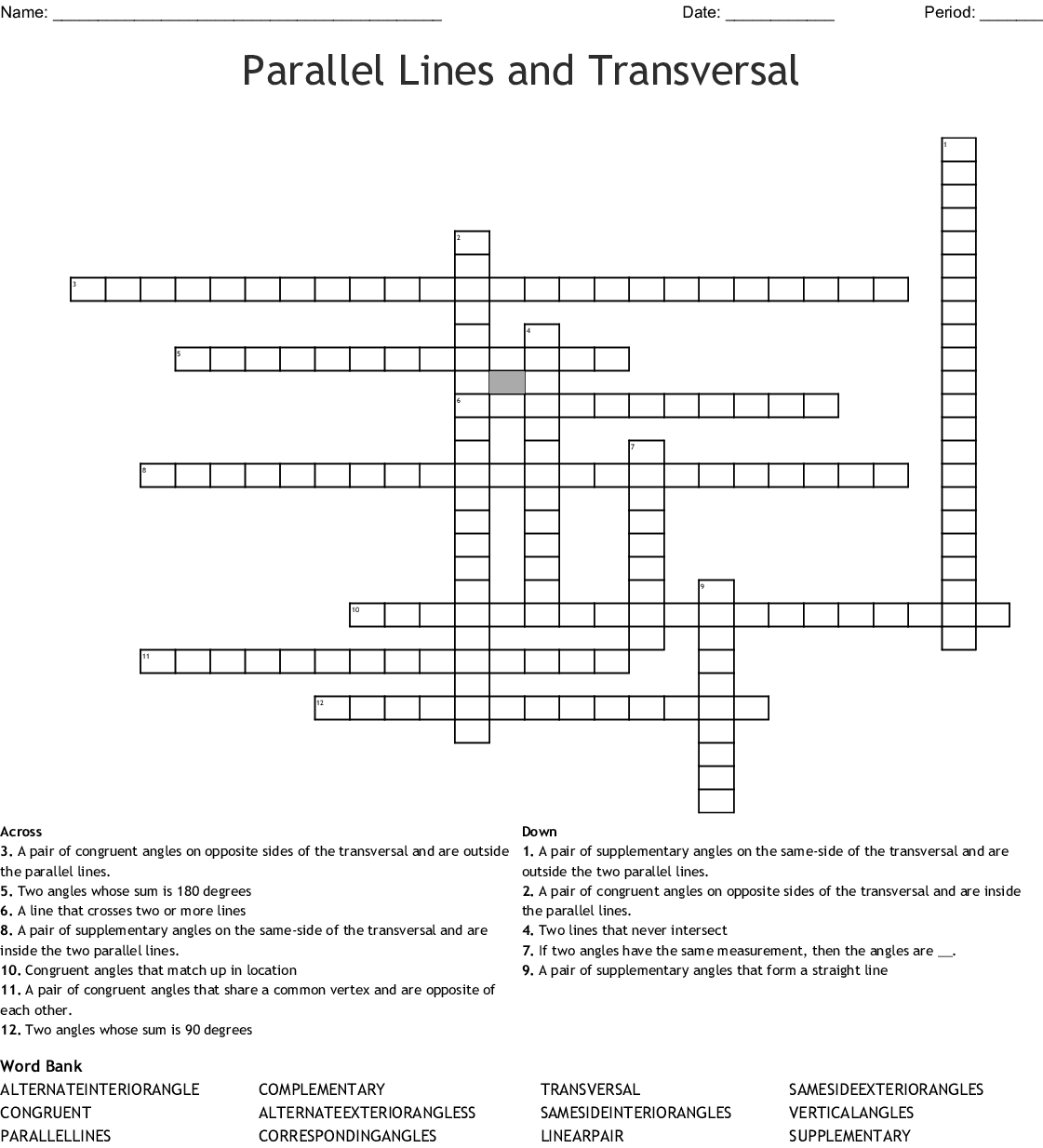 Parallel Lines Cut By A Transversal Crossword