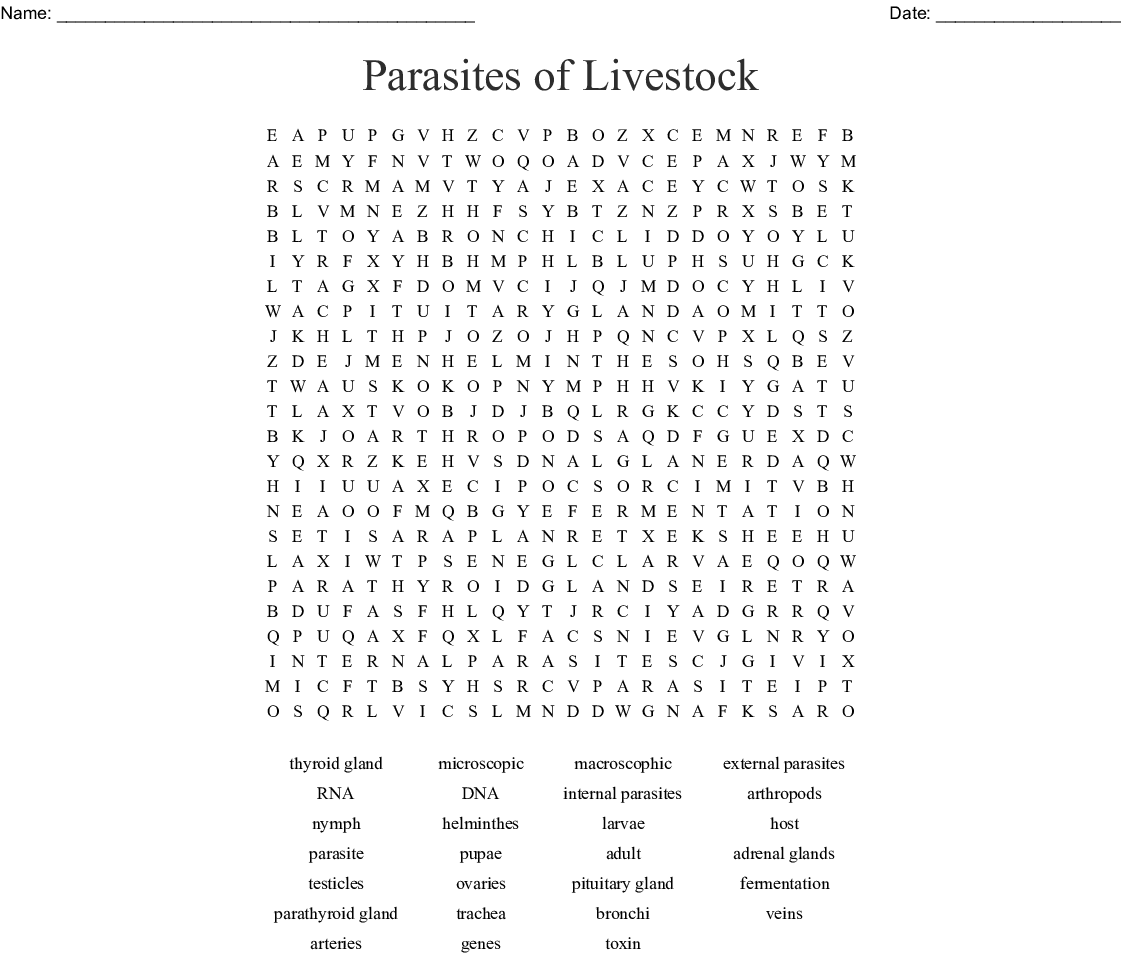 Parasites Of Livestock Word Search