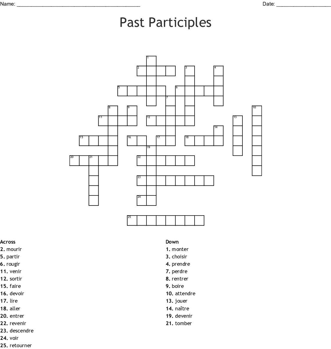Irregular Past Participle Word Search
