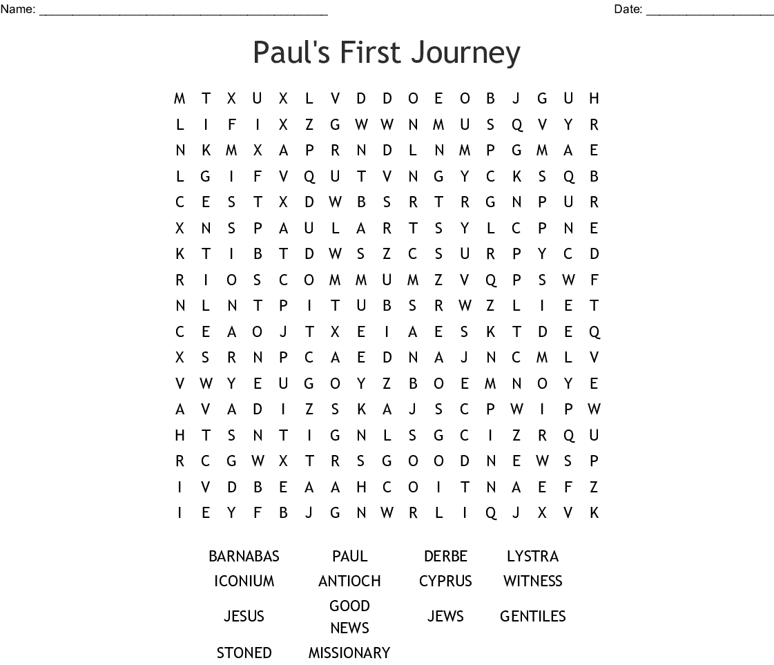Paul S First Journey Word Search