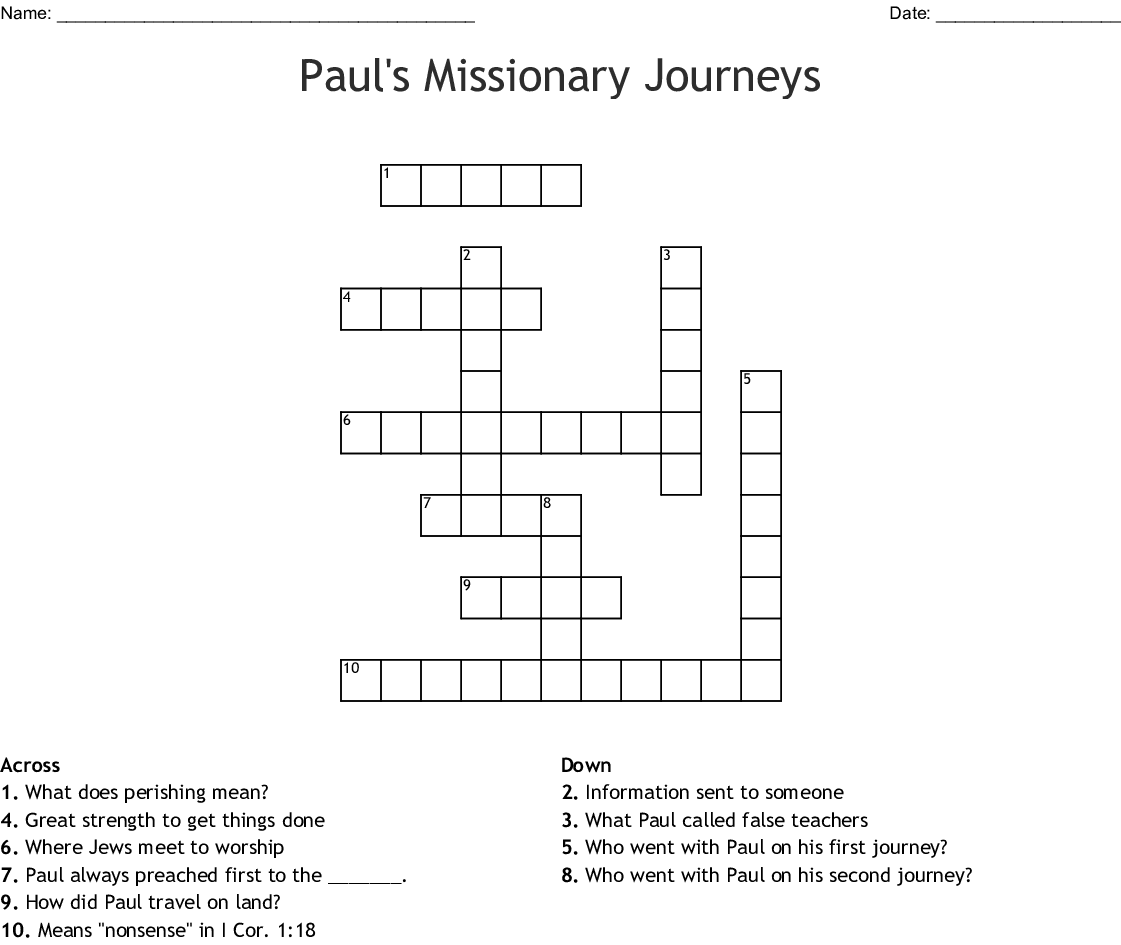 Paul S Missionary Journeys Crossword