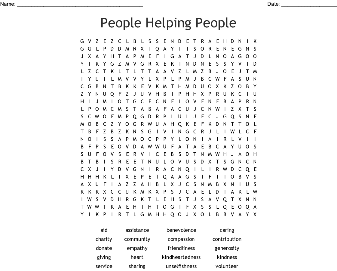 People Helping People Word Search