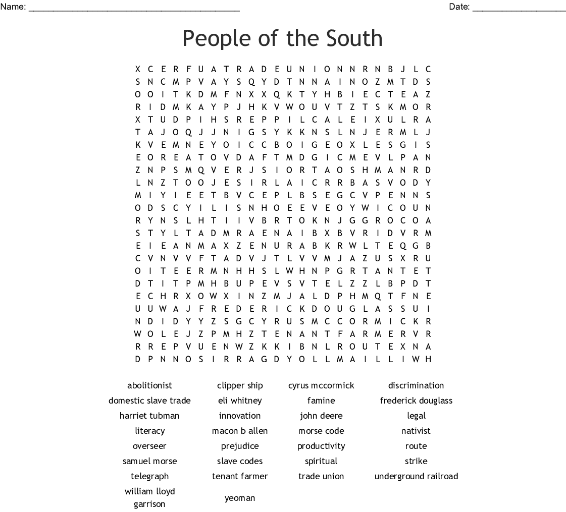 People Of The South Word Search