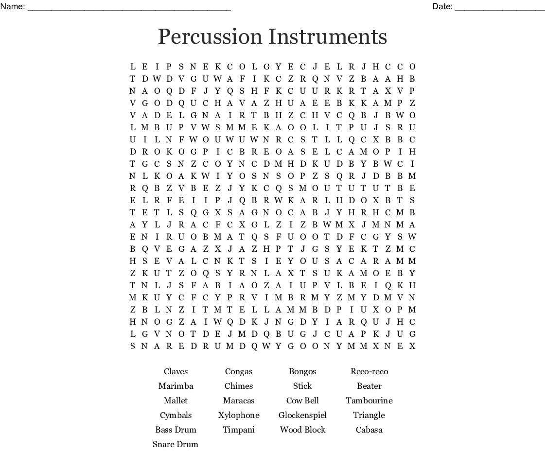 Percussion Instruments Word Search