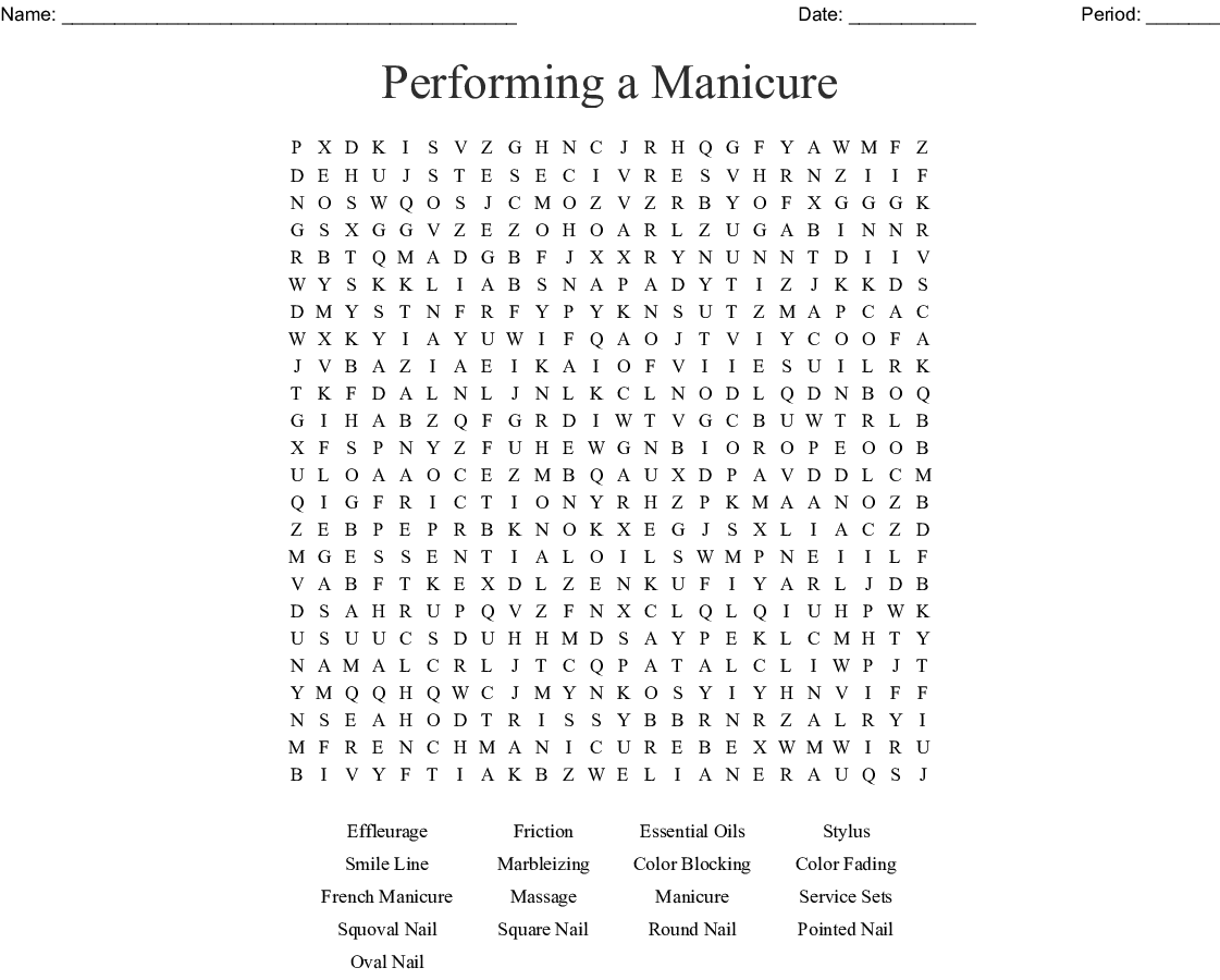 Performing A Manicure Word Search