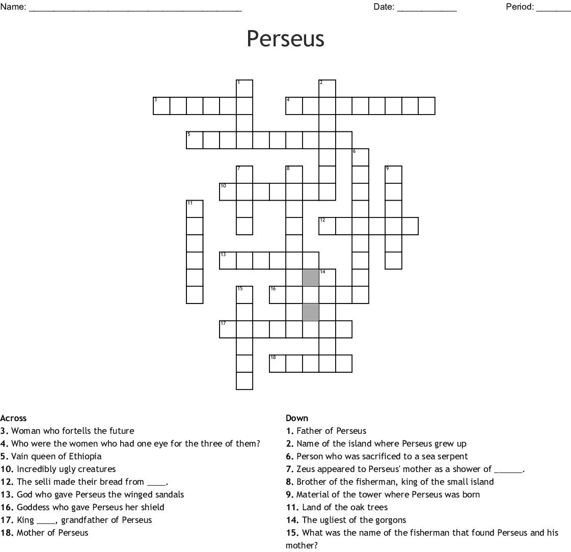 Myth Of Perseus And Medusa Word Search