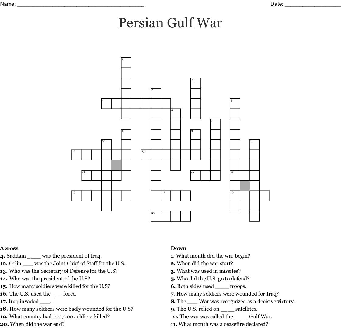 Persian Gulf War Crossword