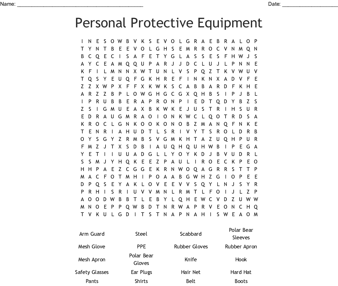 Personal Protective Equipment Word Search