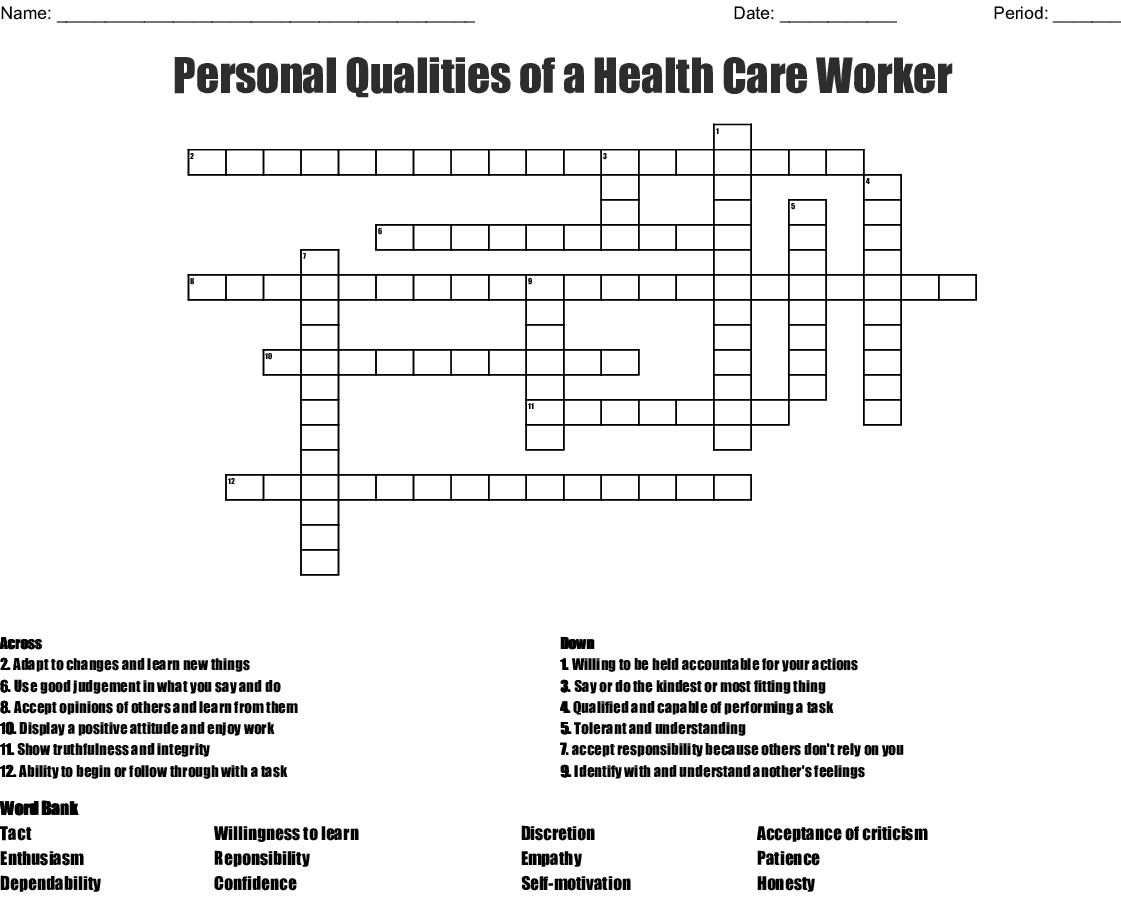 Personal Qualities Of A Health Care Worker Crossword