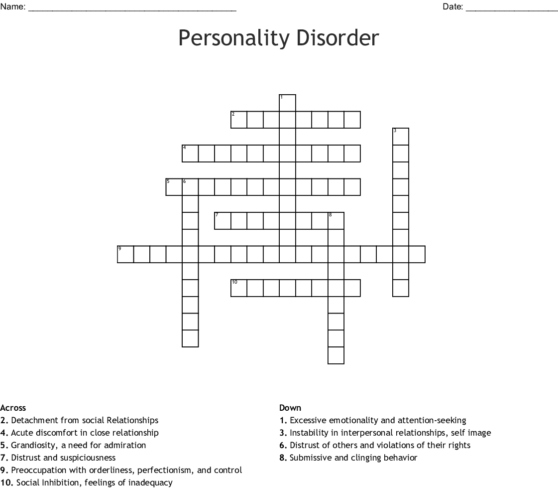 Personality Disorder Crossword