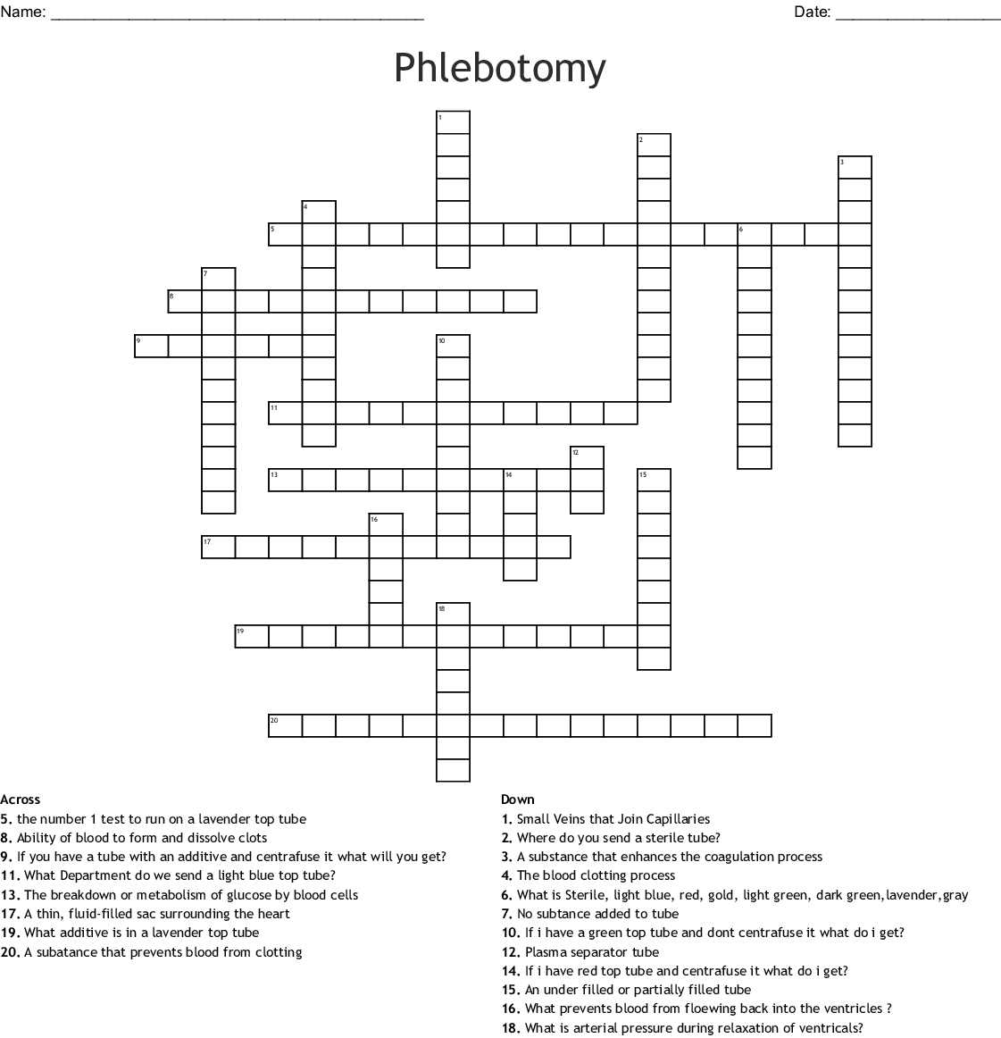 Phlebotomy Crossword