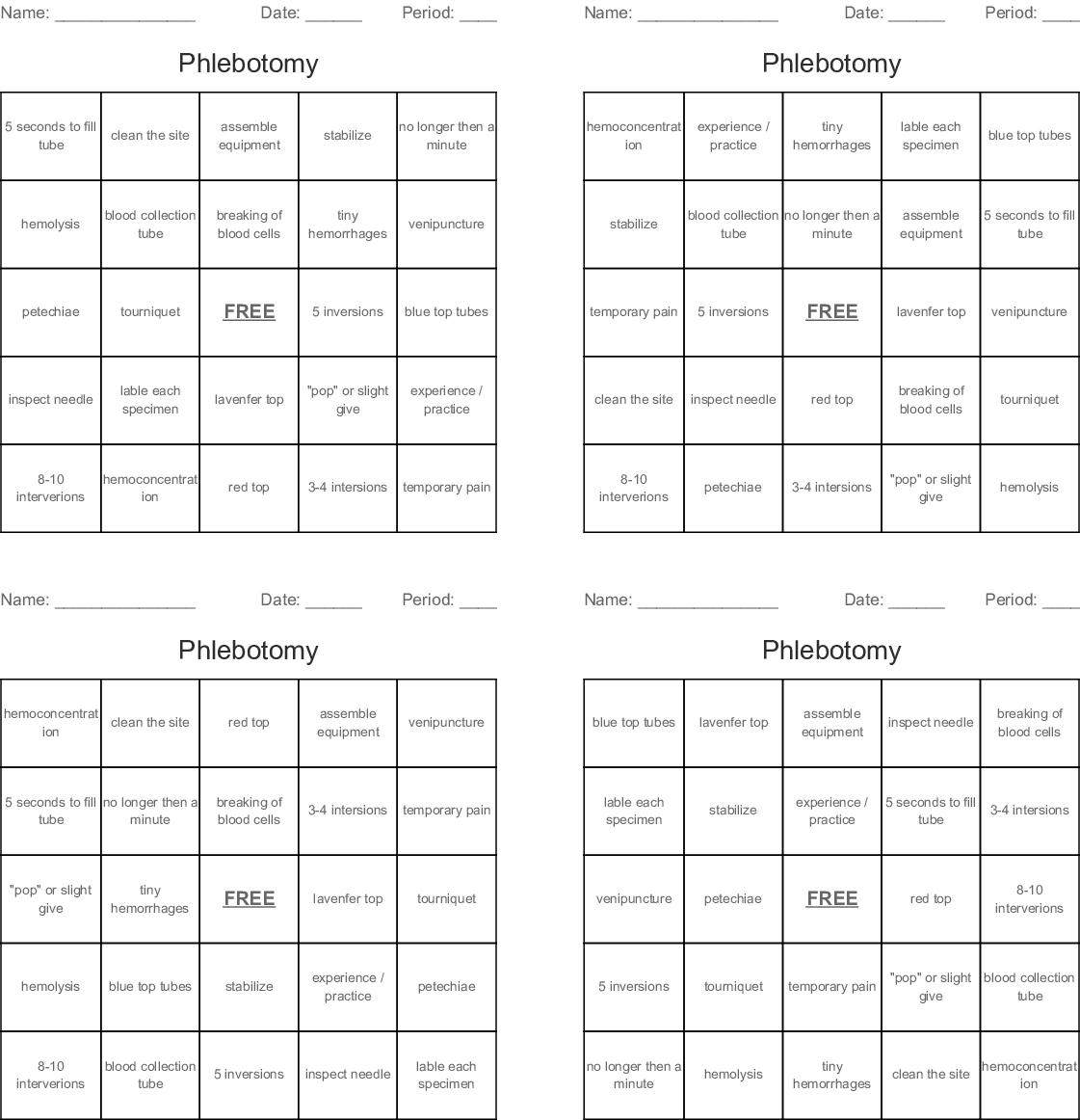 Phlebotomy Word Search