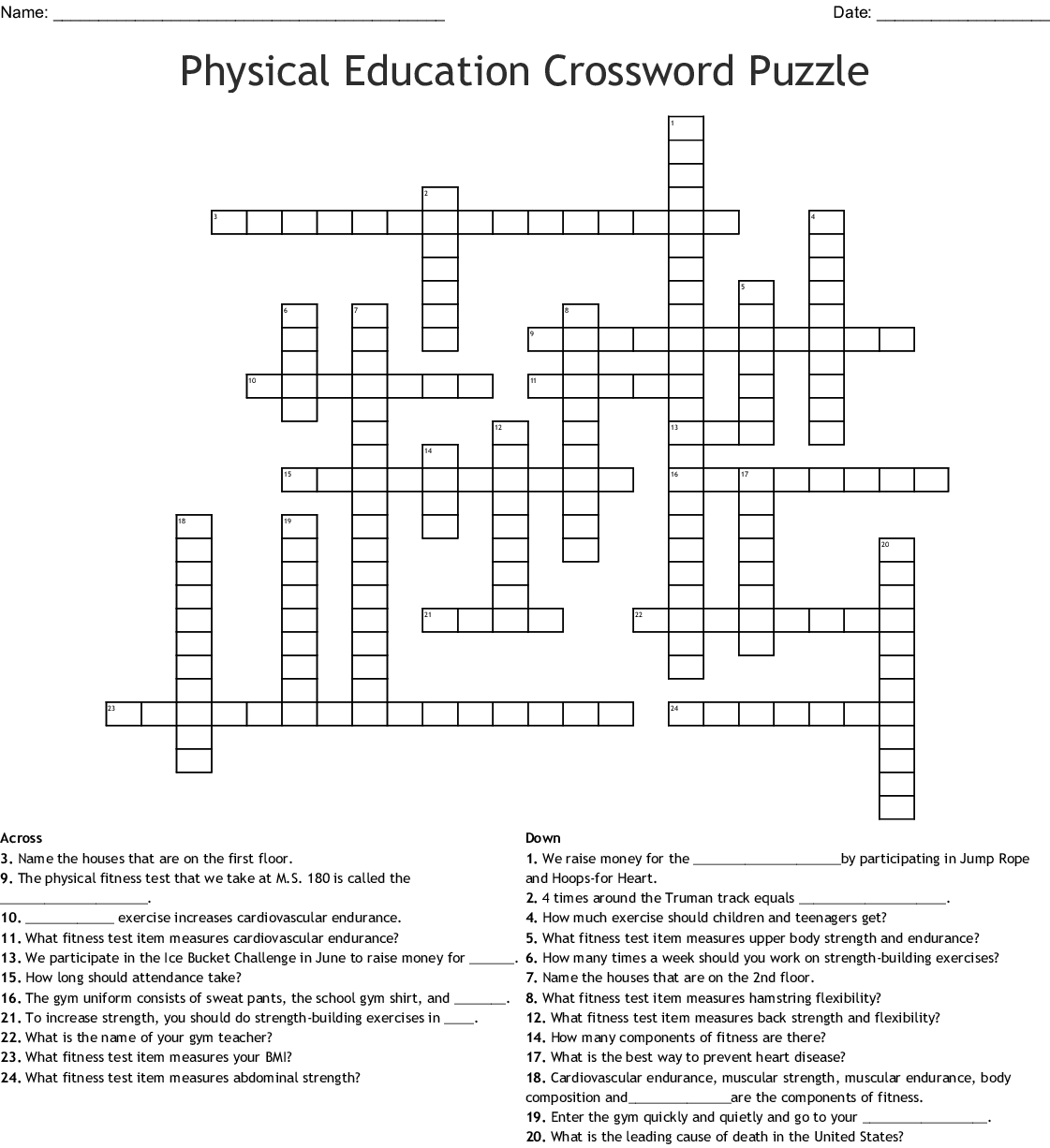 Fitnessgram And The 5 Components Of Fitness Word Search