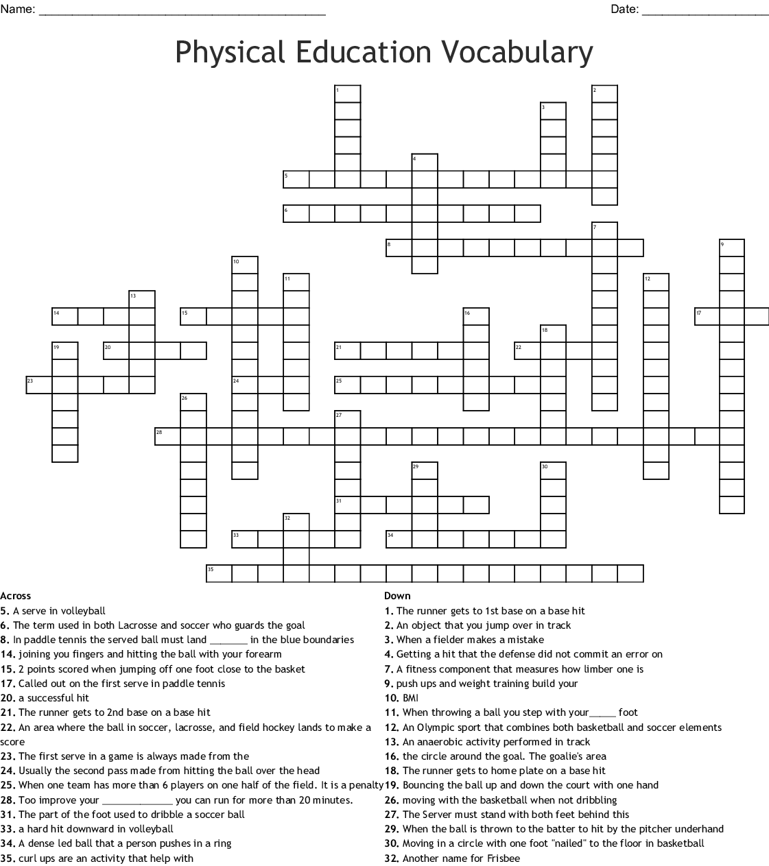 7th Grade Physical Education Word Search