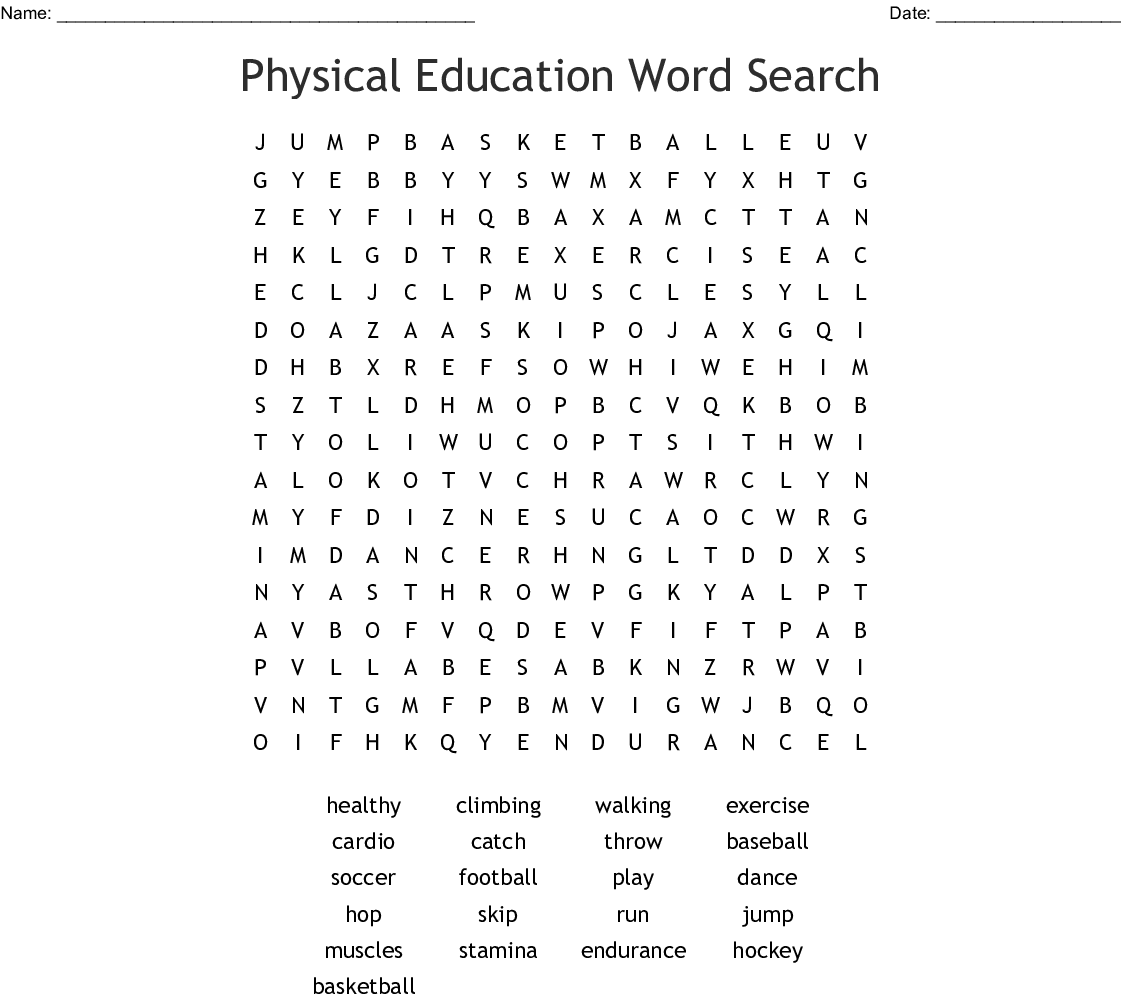 Exercise Amp Fitness Word Search
