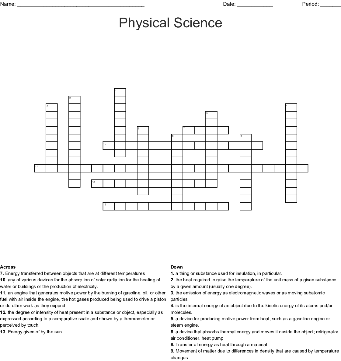 hight resolution of physical science crossword