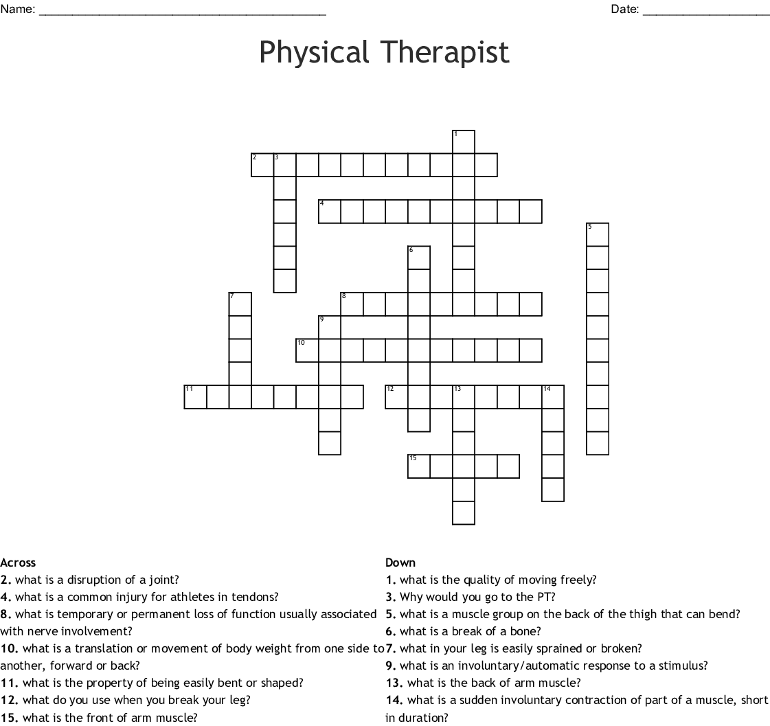 Physical Therapy Crosswords Word Searches Bingo Cards