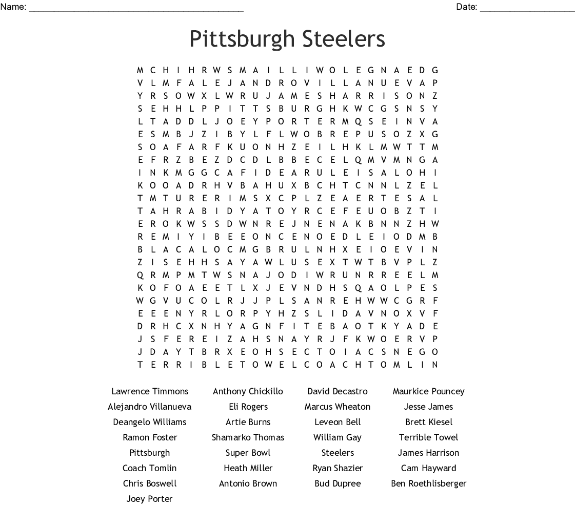 Pittsburgh Steelers Word Search