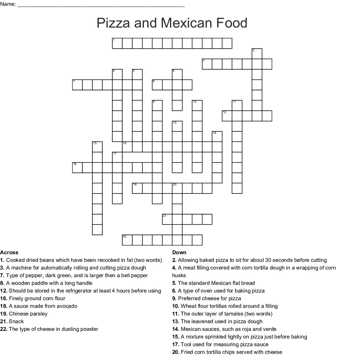 Mexico Crossword Puzzle