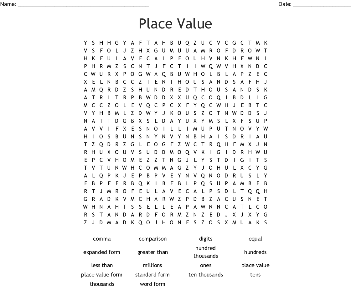 Place Value Crossword Puzzle