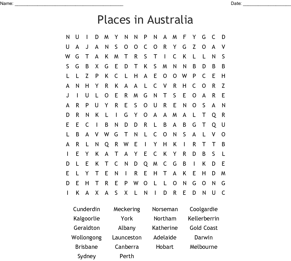 Australian States Territories Amp Capital Cities Word Search