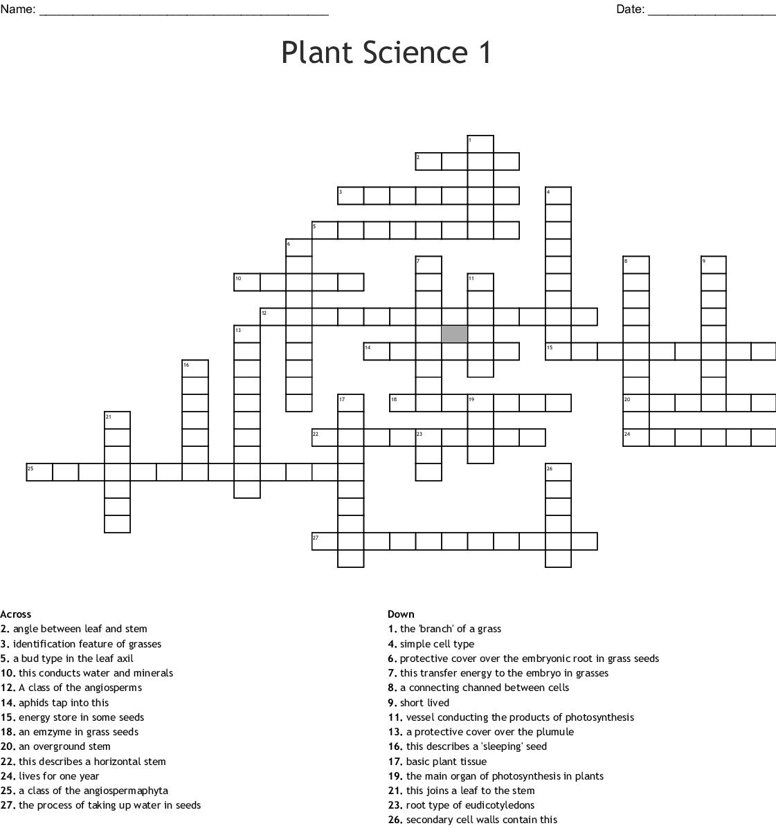 Plant Science 1 Crossword