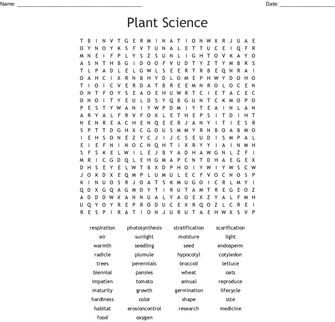 Plant Science Word Search