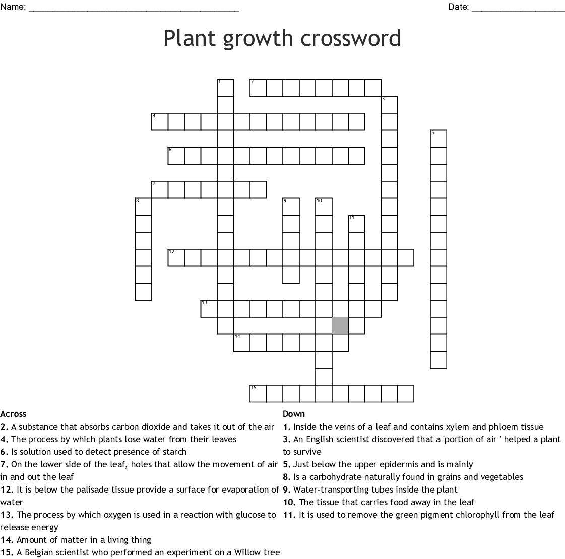 Plant Transport Amp Transpiration Crossword