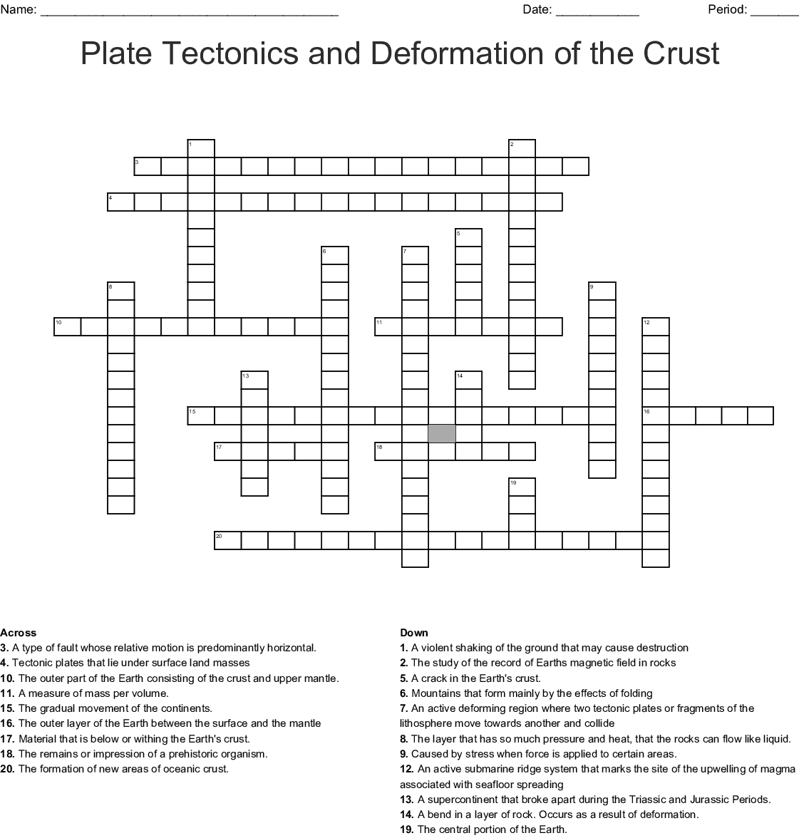 Plate Tectonics And Deformation Of The Crust Crossword