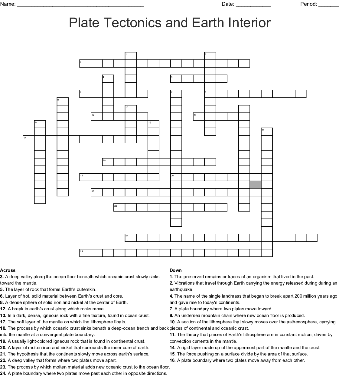 Plate Tectonic Vocab Earth Systems Crossword