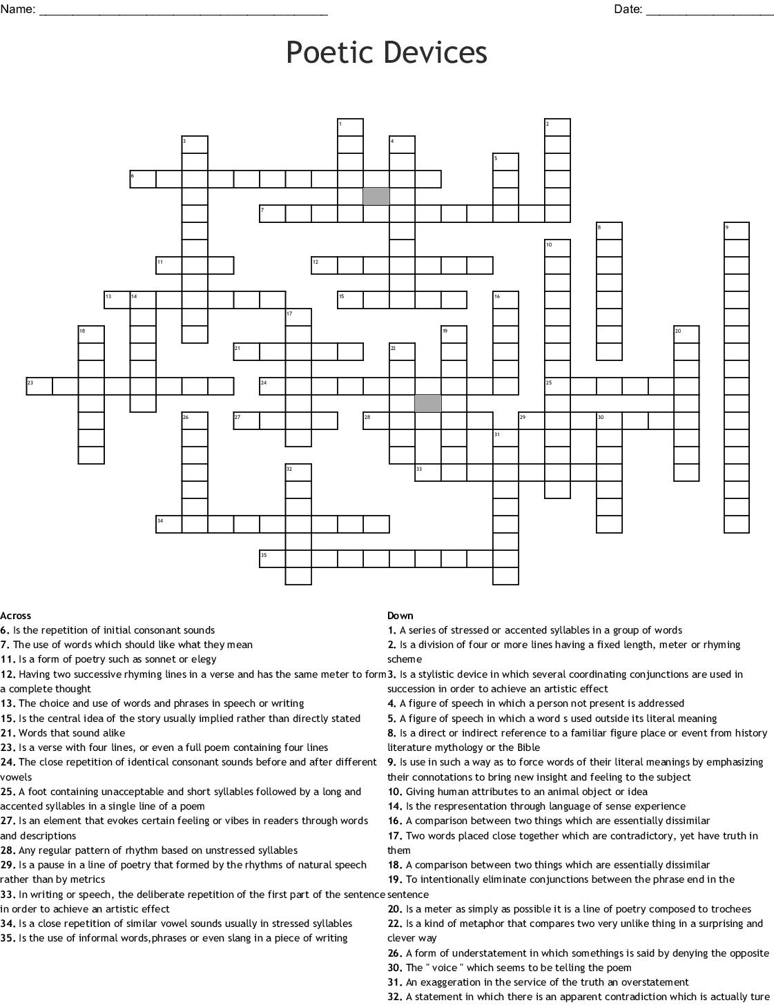 Similar To Figurative Language Crossword Puzzle