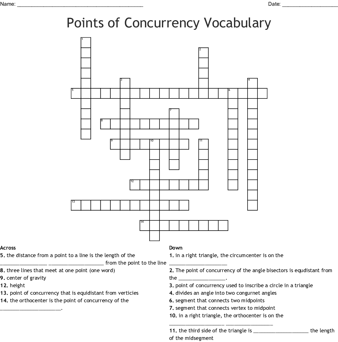 Geometry Points Of Concurrency Worksheet Answers