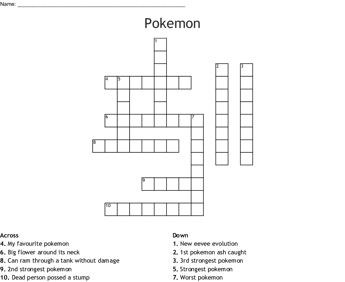 Pokemon Crossword