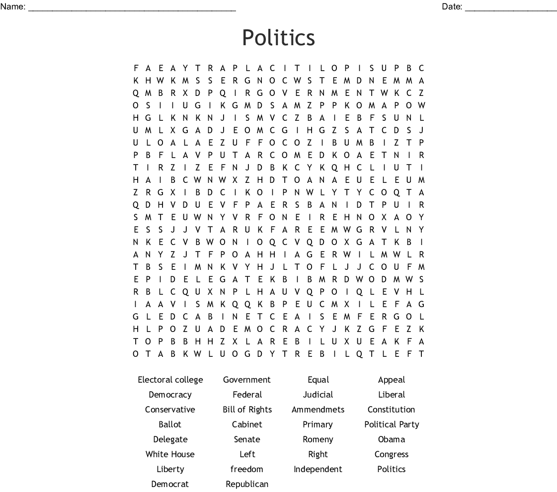 Politics Word Search