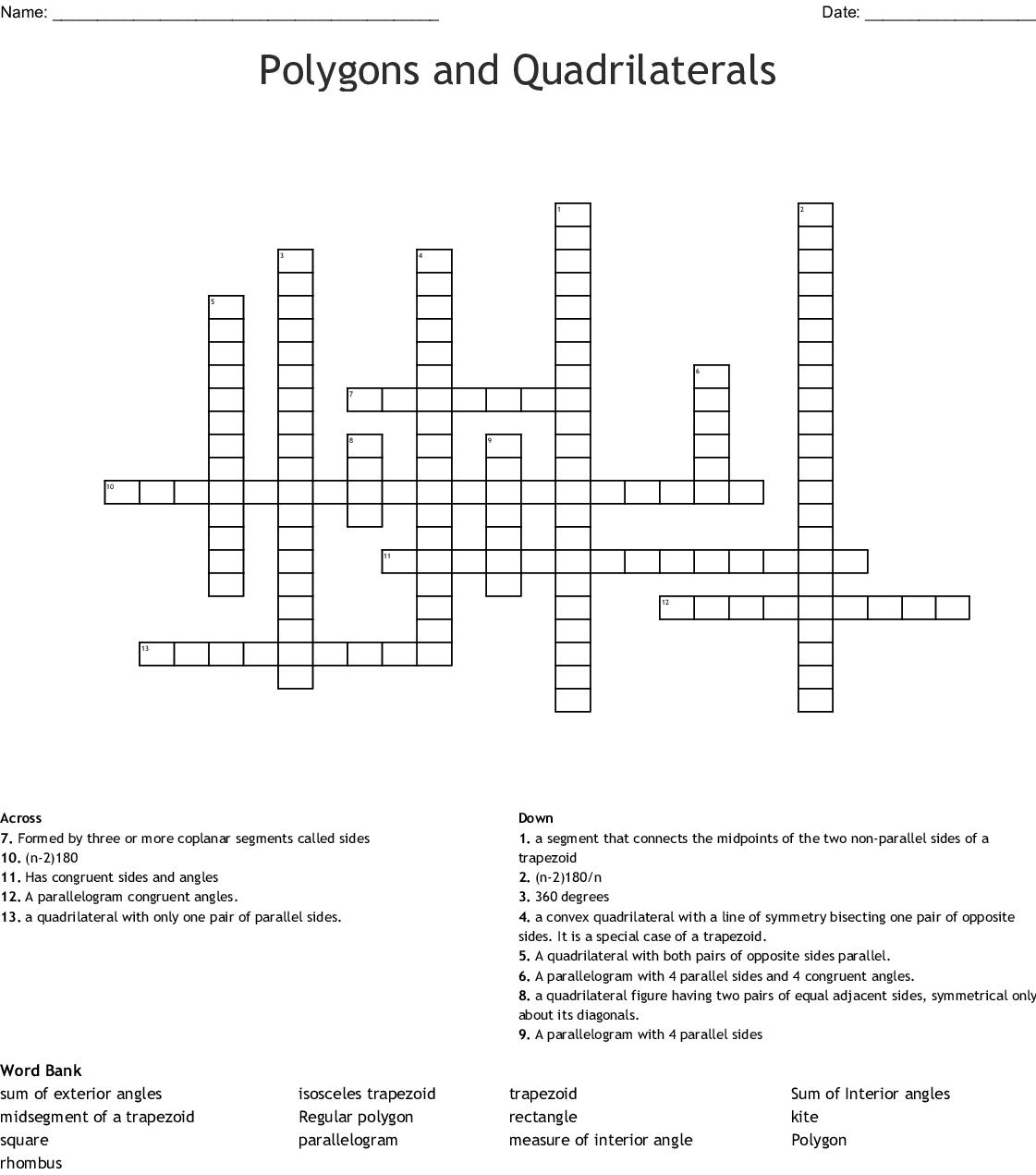 Quadrilaterals Crossword