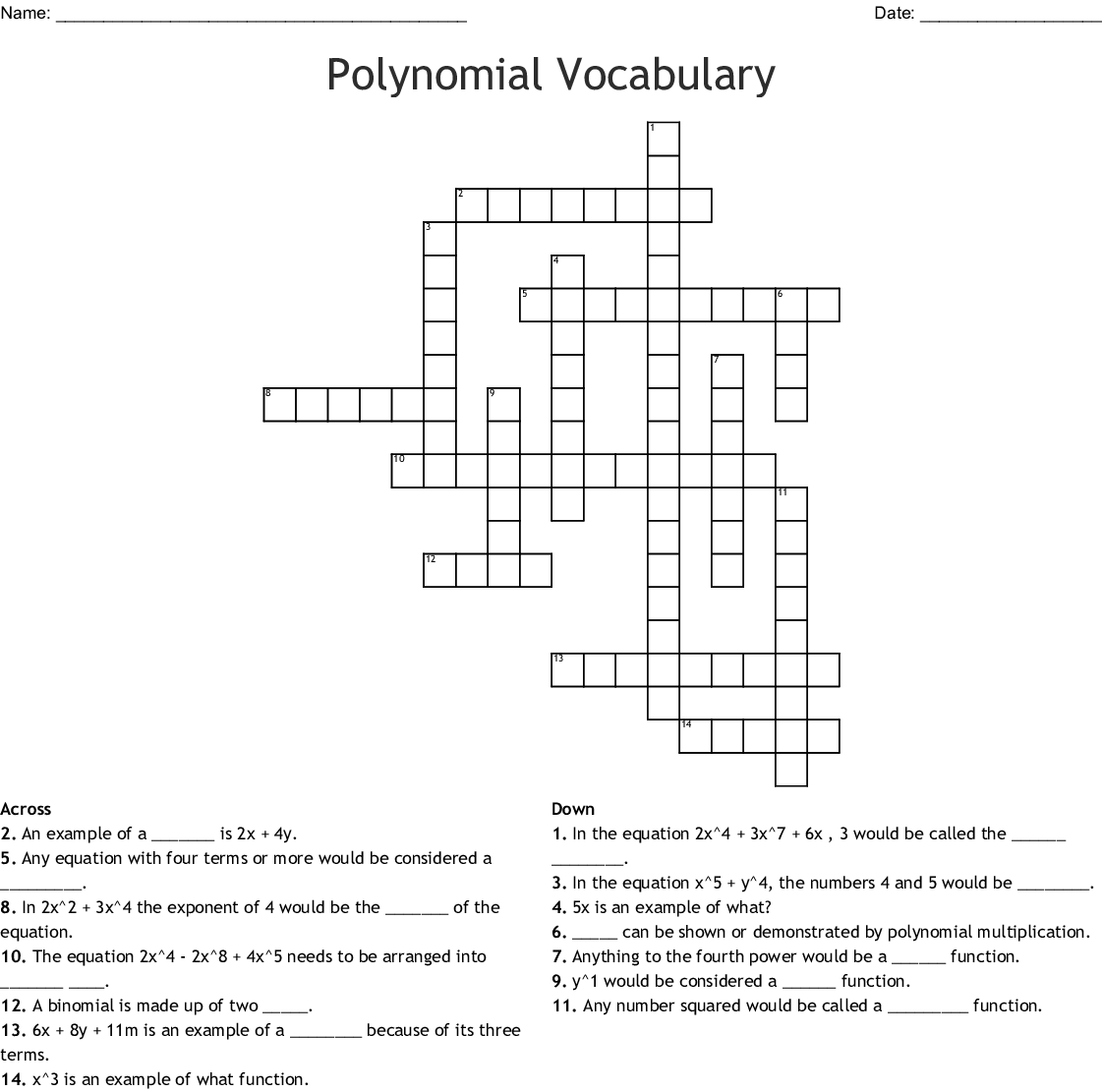 Polynomial Crossword Puzzle Darkow