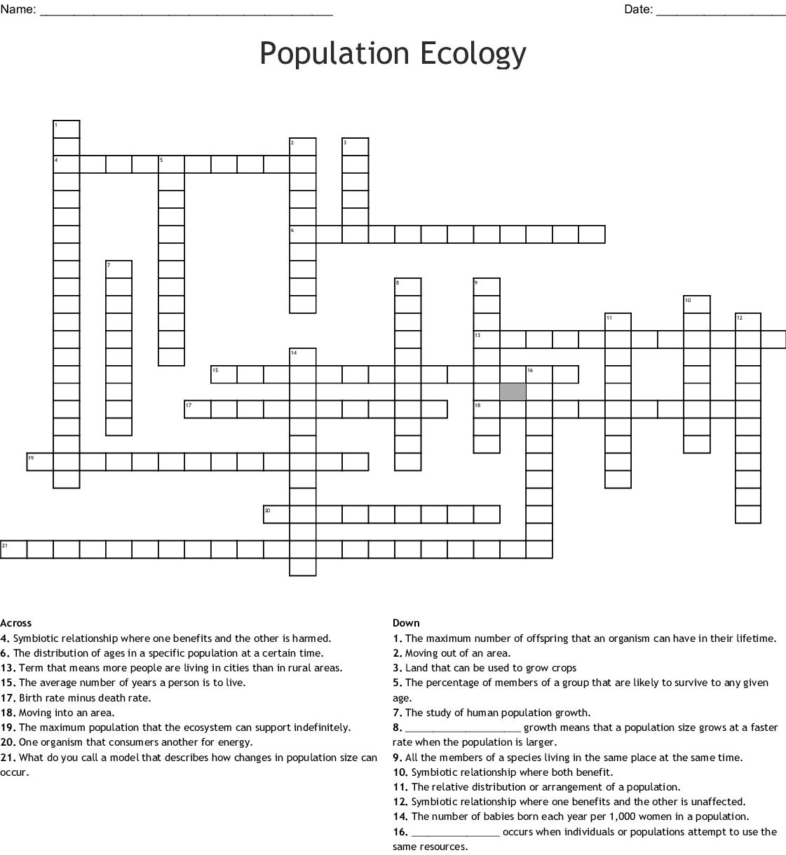 Ecosystems Crossword