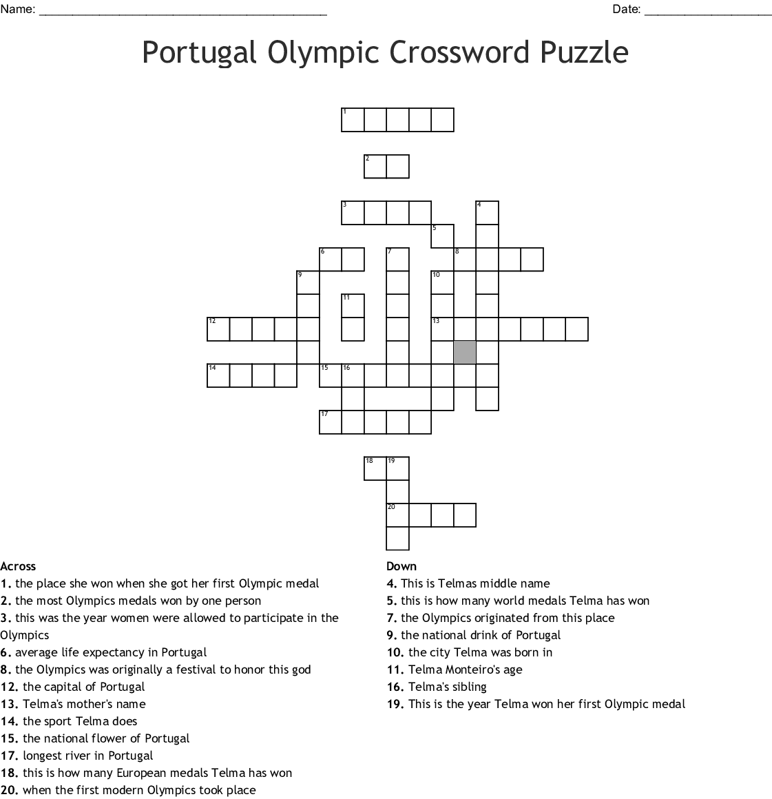 Olympics Crosswords Word Searches Bingo Cards