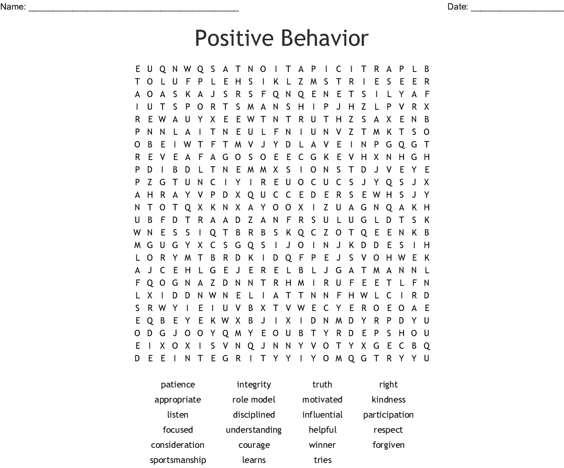 Positive Behavior Word Search