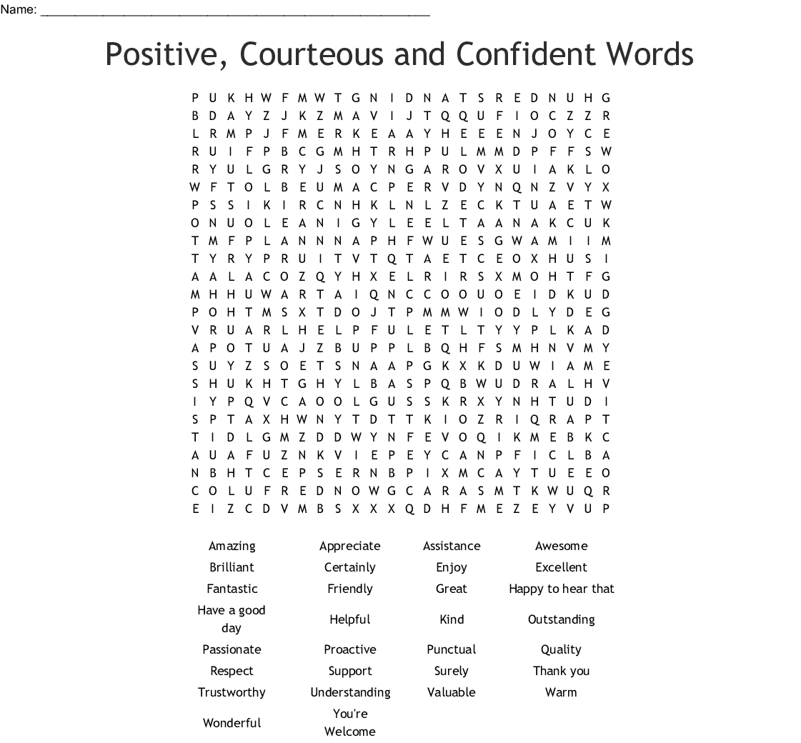 Self Esteem Word Search